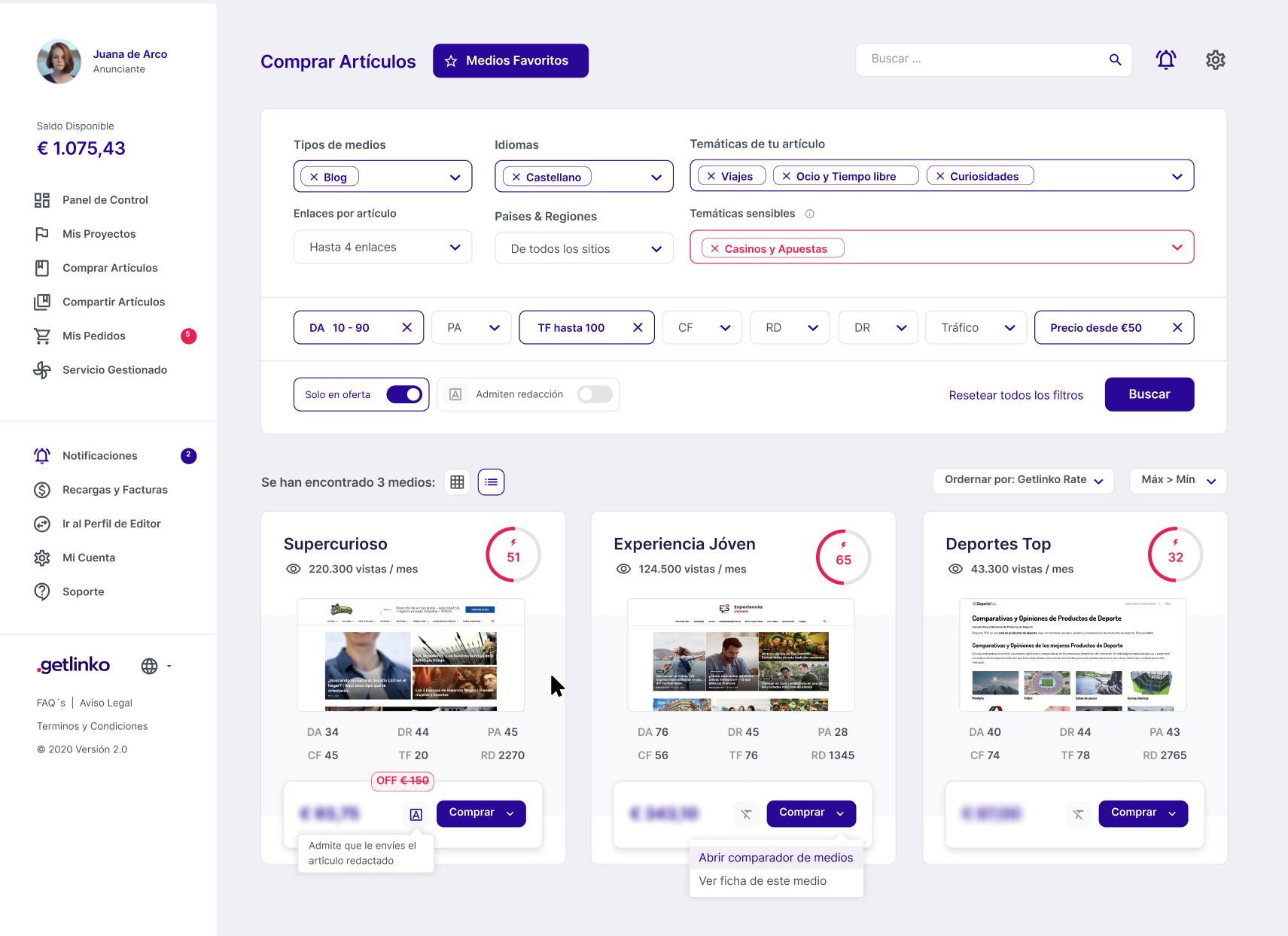 Getlinko, plataforma donde comprar backlinks de calidad