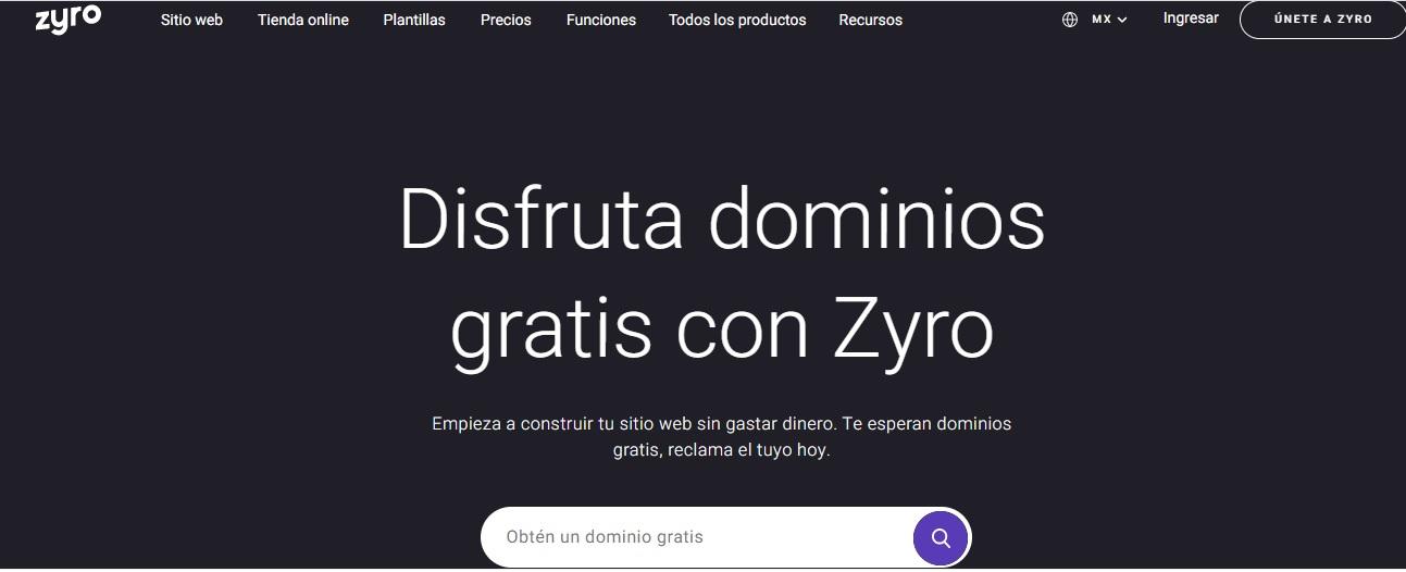 Disfruta dominios gratis con Zyro